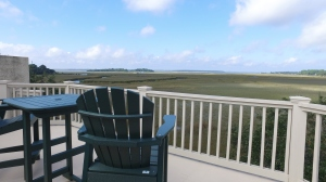 Views across the marsh to the deepwater of the Calibogue Sound off Hilton Head Island from the rooftop deck.